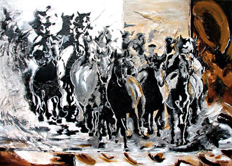 Pferdeherde gemalt von Kerstin Tschech
