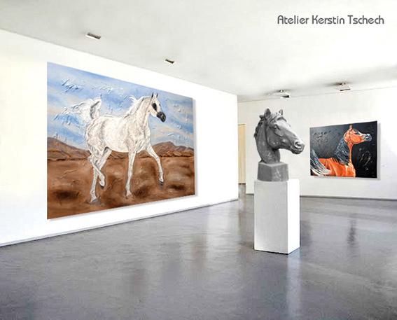 Arabische Pferde auf Leinwand