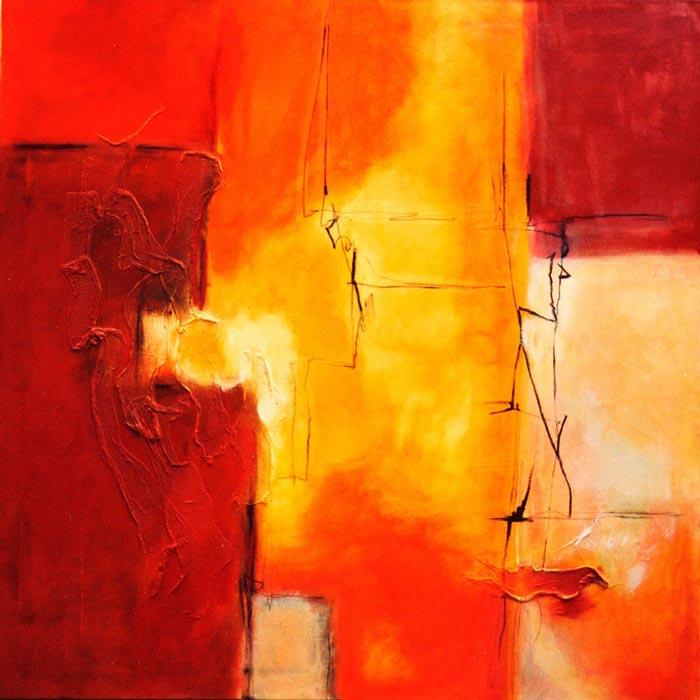 Gemälde auf Leinwand rot gelb