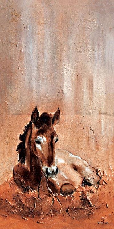 Fohlen Pferde Gemälde mit Struktur