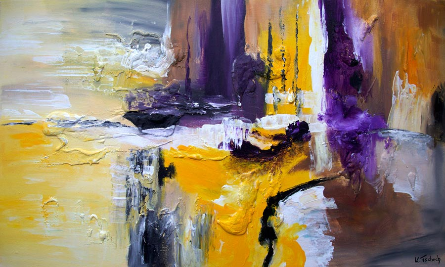 Bild abstrakt gelb lila