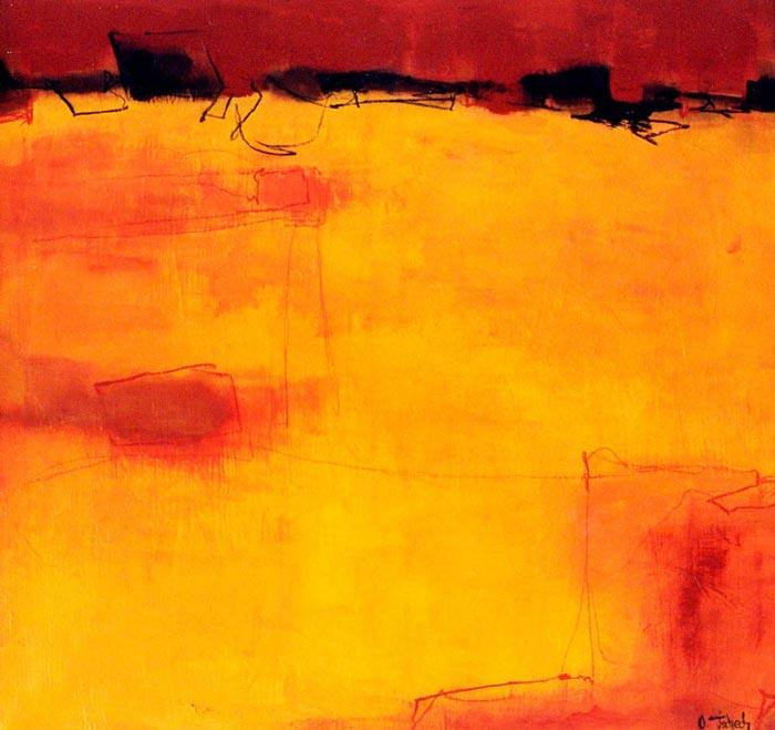 Abstraktes Gemälde gelb rot
