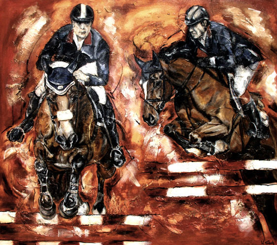 Jumping horses painted