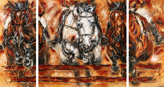 Jumping horses painting CHIO Kerstin Tschech