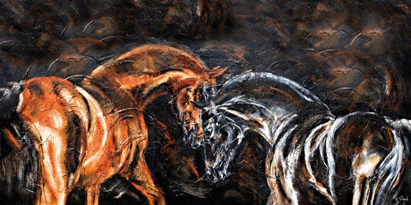 Hengste Pferdegemälde von Kerstin Tschech