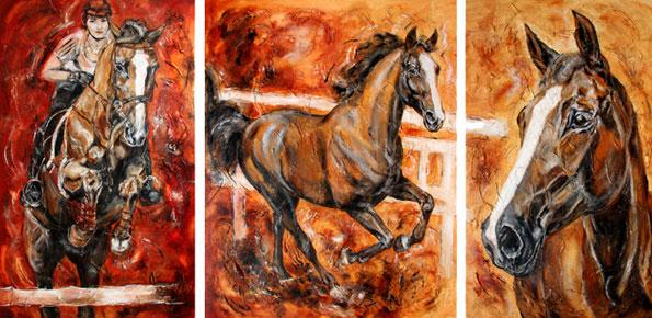 Martina Hingis Pferdegemälde Triptychon