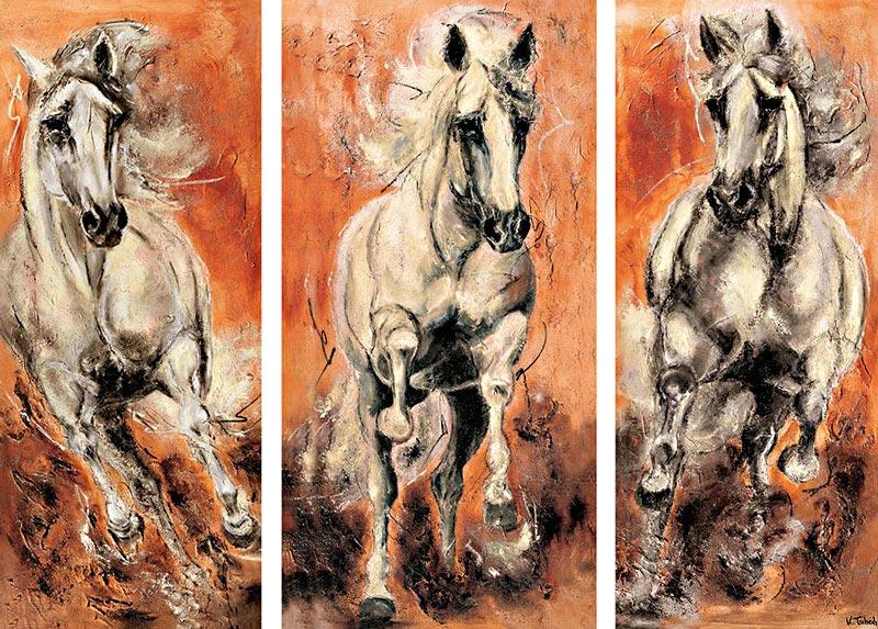 Pferdeherde Pferdegemälde Schimmel