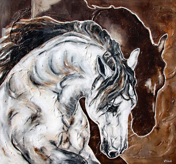 Pferdegemälde mit Struktur von Kerstin Tschech