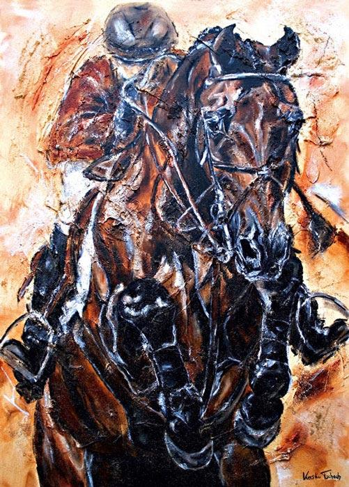 Shutterfly Pferdegemälde Springpferd