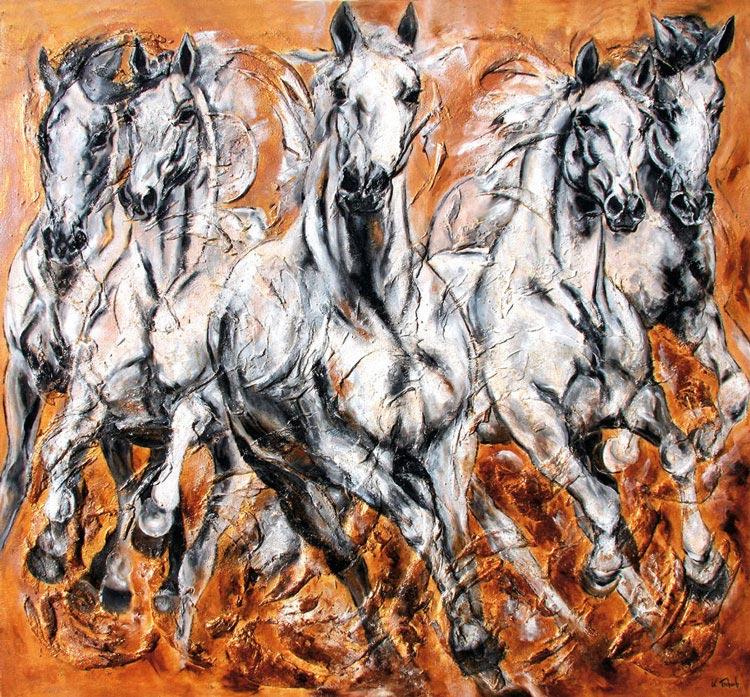 Pferde auf Leinwand mit Struktur