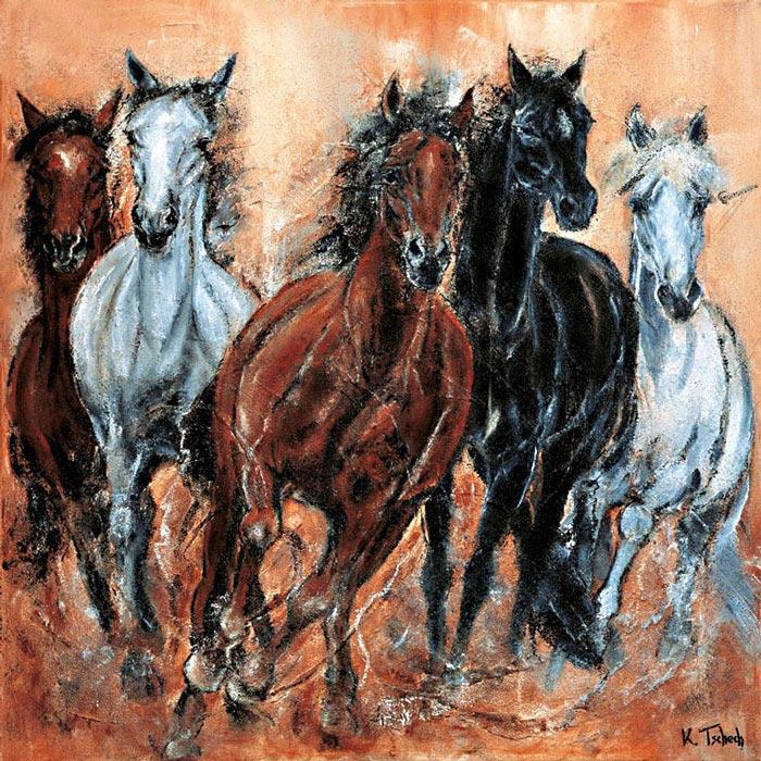 Pferde Gemälde Pferdeherde von Kerstin Tschech