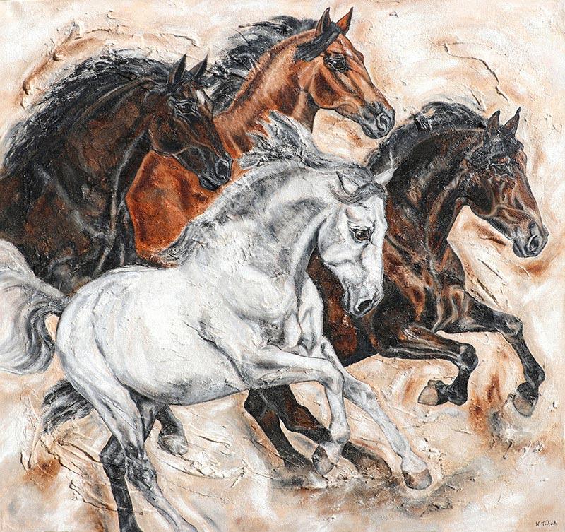 Pferdeherde auf Leinwand