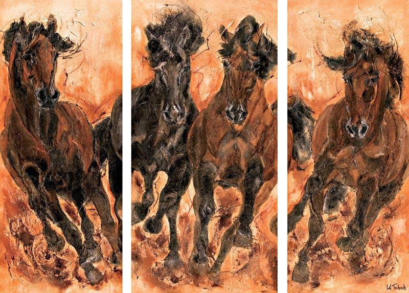 Pferdeherde Triptychon von Kerstin Tschech
