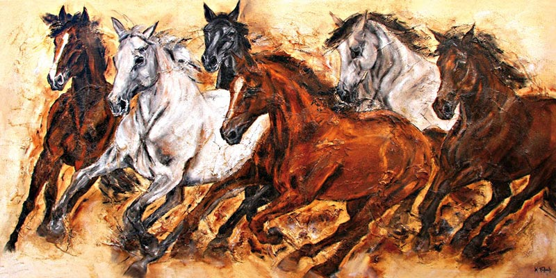 Pferdeherde Pferde Gemälde