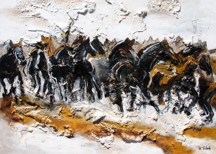 Pferdeherde gemalt