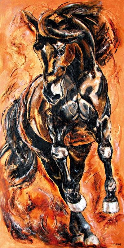 Pferdegemälde Pirouette Kerstin Tschech
