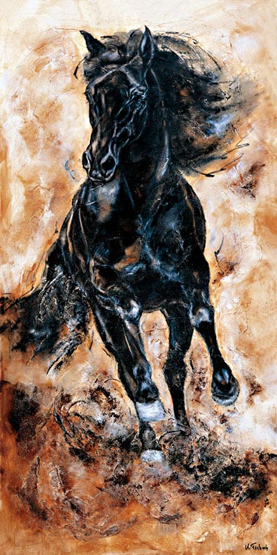 Rappe Pferdegemälde auf Leinwand