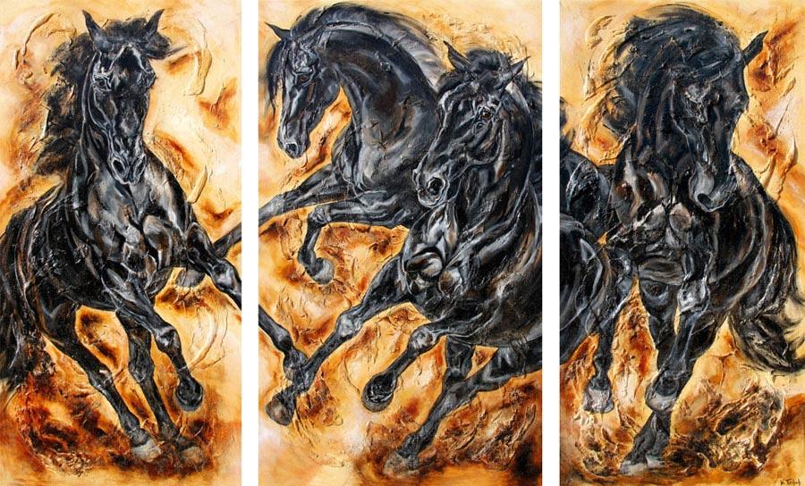 Rappen Pferdegemälde von Kerstin Tschech