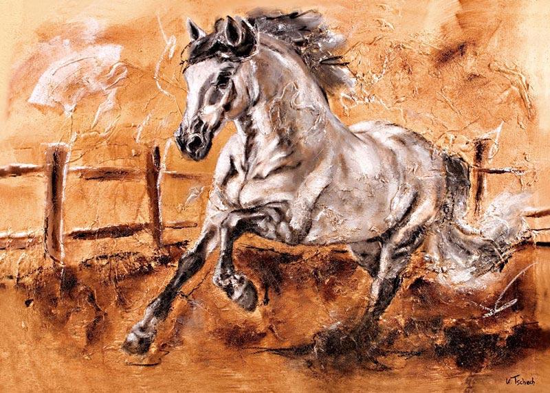 Schimmel Pferdegemälde mit Struktur