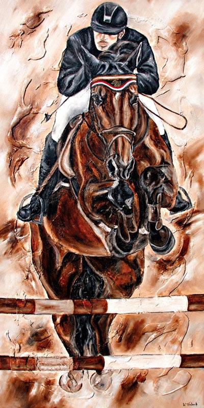 Springpferd Pferde Gemälde