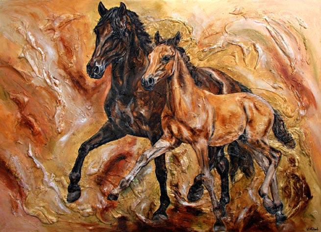 Pferdebild Stute mit Fohlen Kerstin Tschech