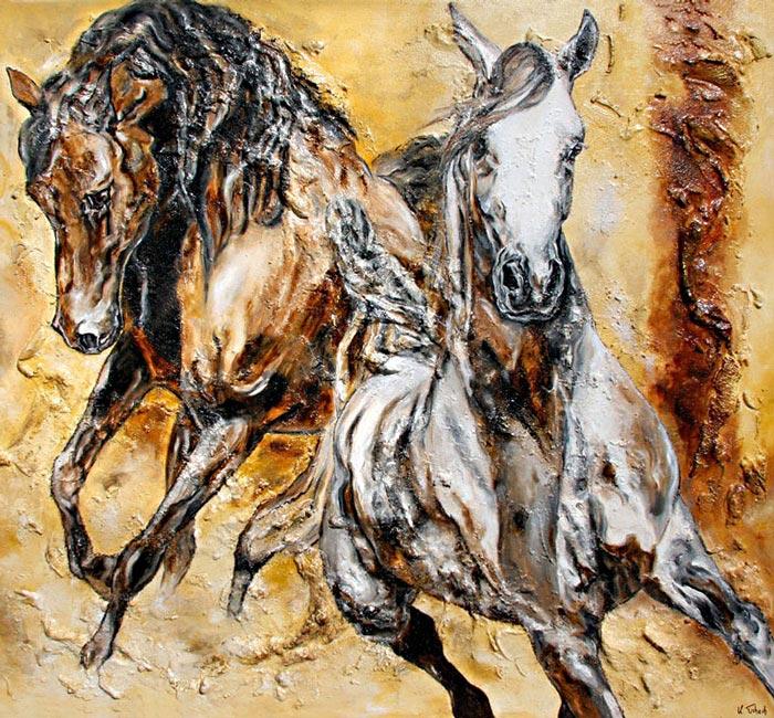 Araber Pferde gemalt