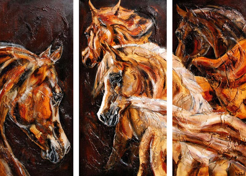 Araber Triptychon auf Leinwand