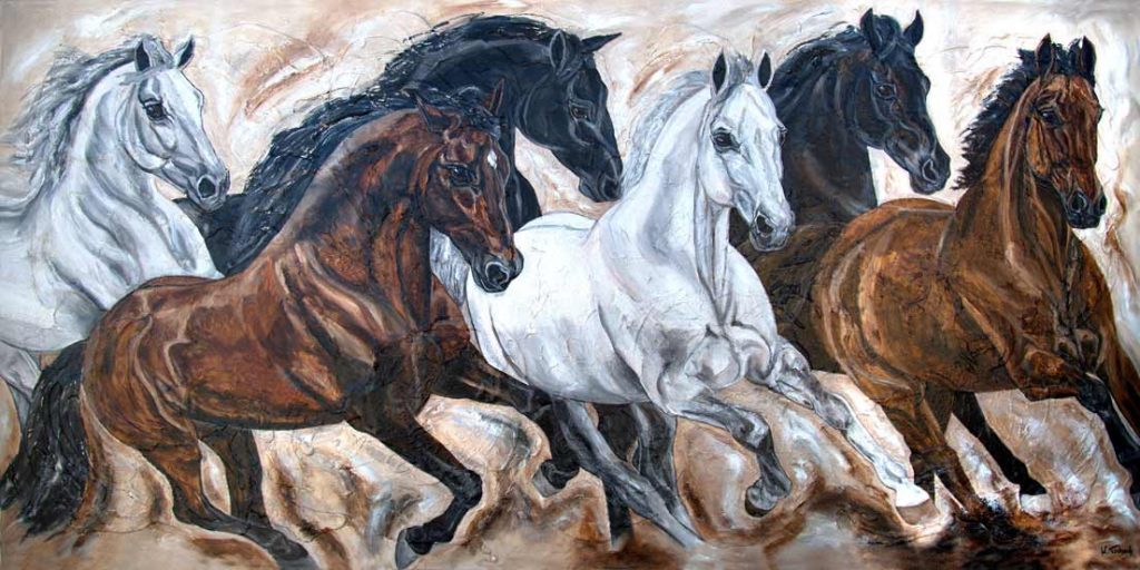 Warmblut Herde Pferdegemälde Kerstin Tschech