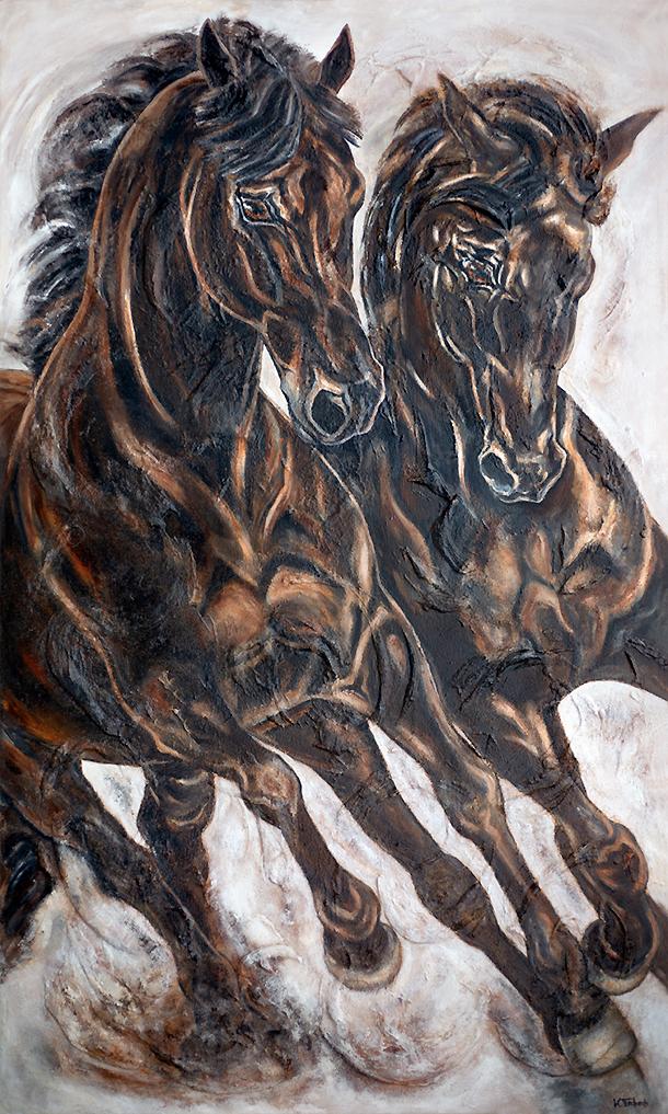 Schwarze Pferde auf Leinwand